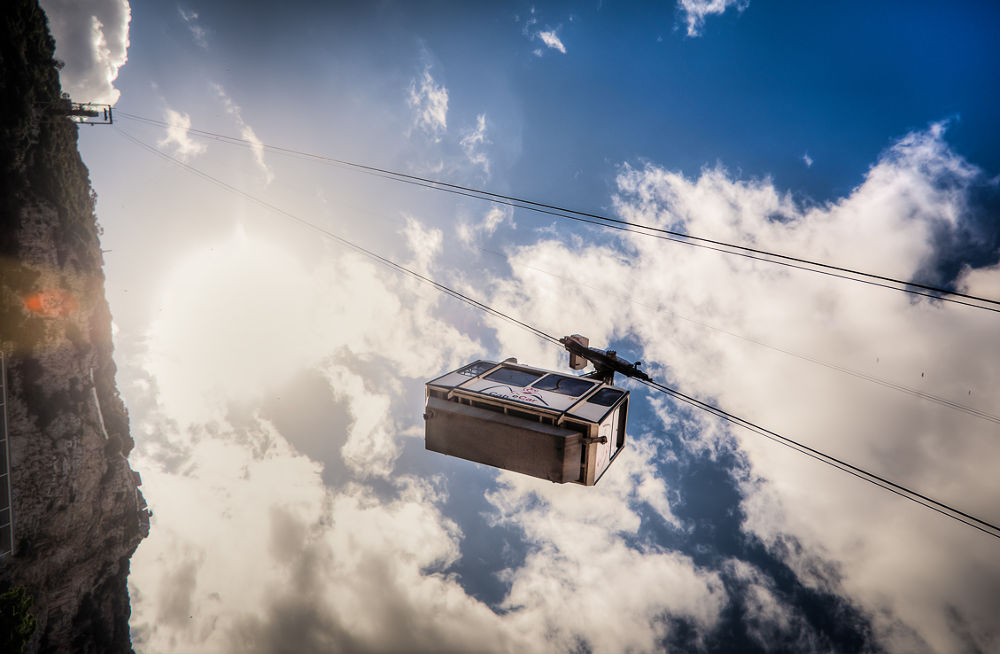 Photo in Random #sky #clouds #hdr #nikon d700 #cable car #wires #rock #gibraltar #british