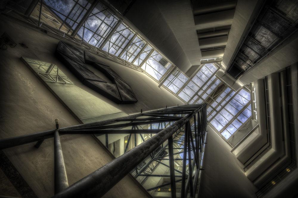 Photo in Black and White #hdr #silo #vault #jyske bank #perspective #pov #nikon d700 #gibraltar