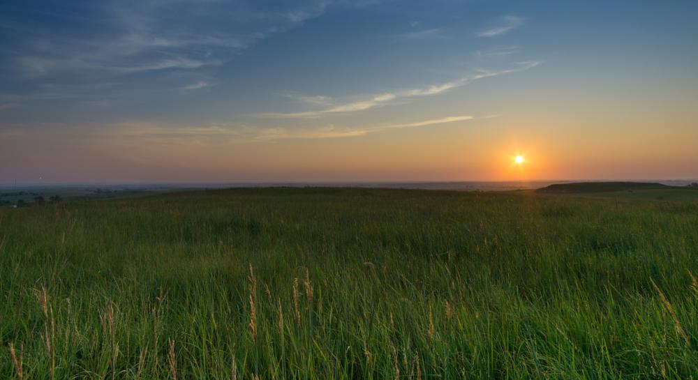 Photo in Landscape #grass #sunrise #sky #kansas