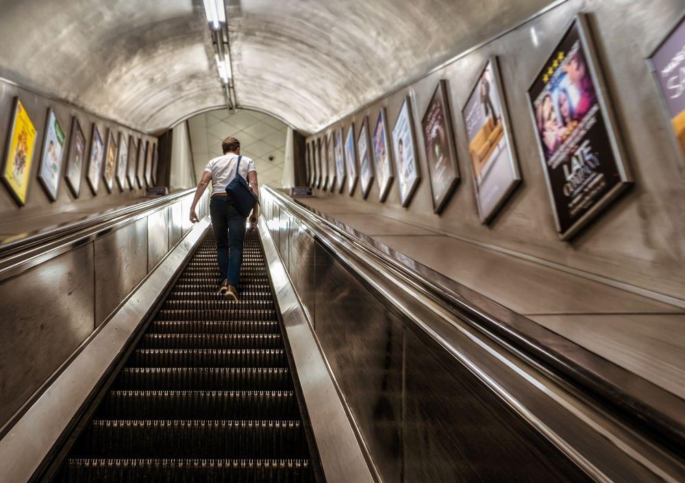 Photo in Interior #escalator #man #underground