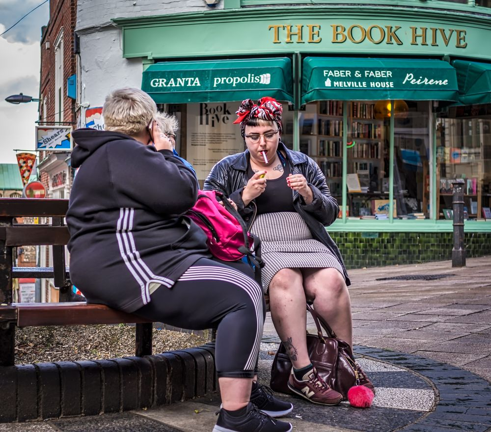 Photo in Street Photography #shop #seat #ladies