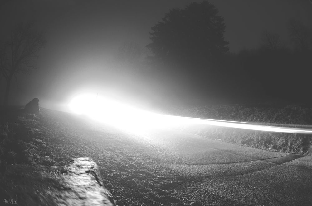 Photo in Abstract #ufo #aliens #alien #invading #invasion #light #lighteffect #abstract #landscape #fog #brouillard #brume #night #fisheye #mountain #road #trees #rock #blackandwhite #b&w #n&b #france #vosges #nikon