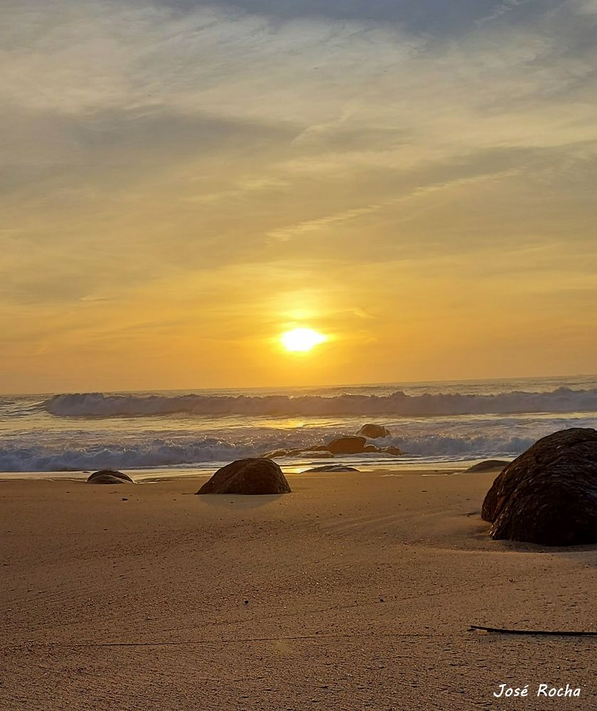 Photo in Sea and Sand #sea #sand #sunset #stones #waves #clouds