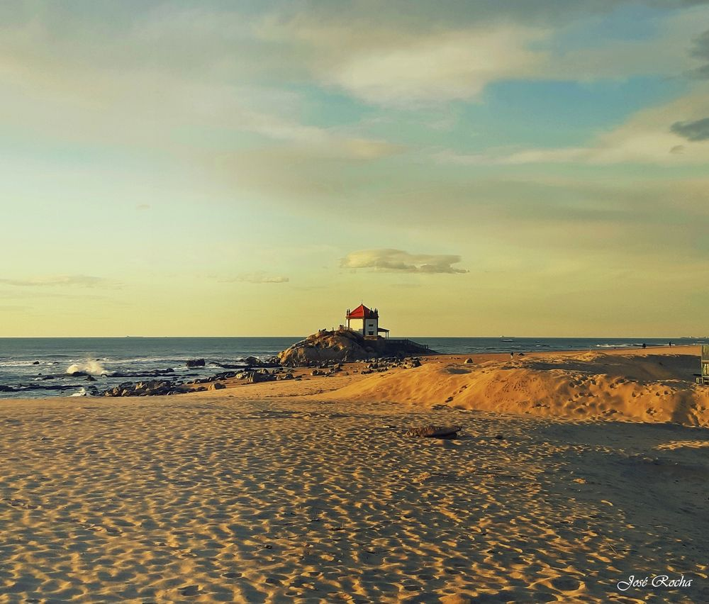 Photo in Landscape #sea #sand #clouds #waves #church #sunset