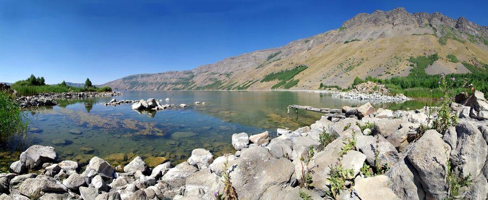 Photo in Landscape #panoramic #nemrut #crater #lake #mountain #landscape #rocks #water