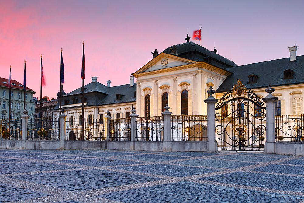 Photo in Cityscape #slovakia #bratislava #presidential palace #architecture #historic #sunset
