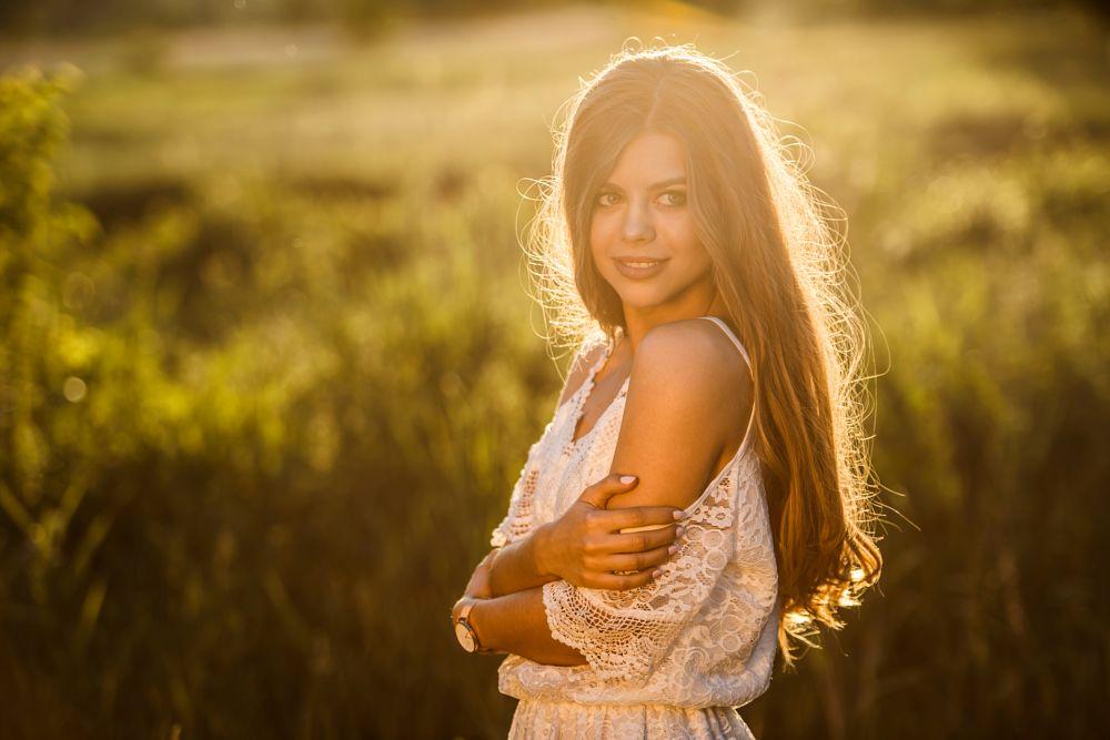 Photo in Portrait #portrait #model #beauty #beautiful #fashion #sunset #sunlight #sun #meadow #nature #young #girl #blonde #blond #long hair #lace #dress #white dress #nikon #poland #siedlce