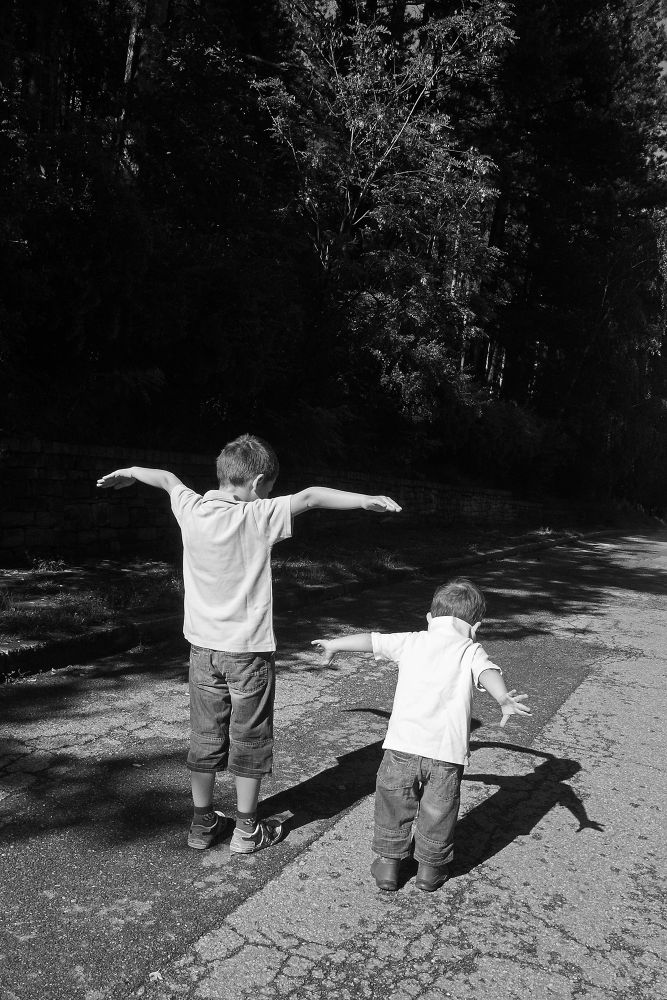 Photo in Black and White #black&white #children #boys #fly #flight #dream