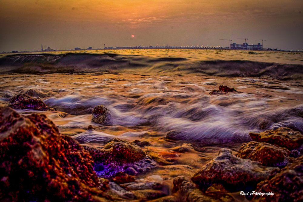 Photo in Landscape #landscape #sunser #sun #sky #water #sea #ocean #rocks