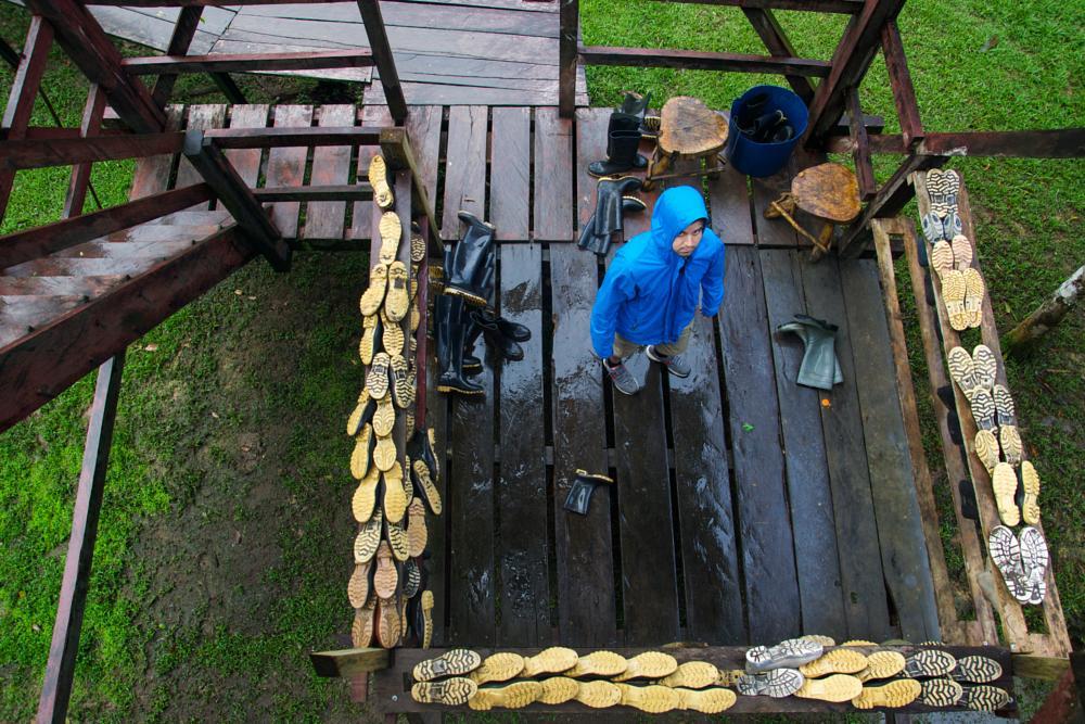Photo in Random #river #amazon #ecuador #rain #jacket #boots #bird #watching #tower