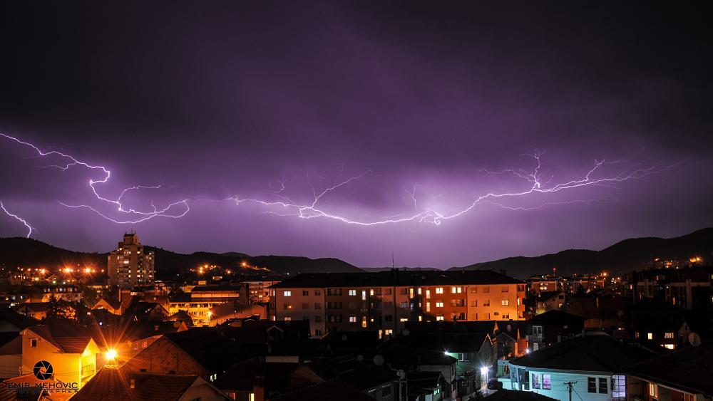 Photo in Nature #thunder #storm #nature #sky #scary #night #lightning #thunder bolt #city #serbia