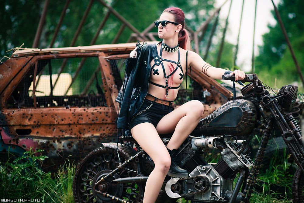 Photo in Portrait #bike #junk #mad max #fallout #junktown #portrait #glamour #gothic #scene #punk #car #motorcycle #iron #metal #steel #leather