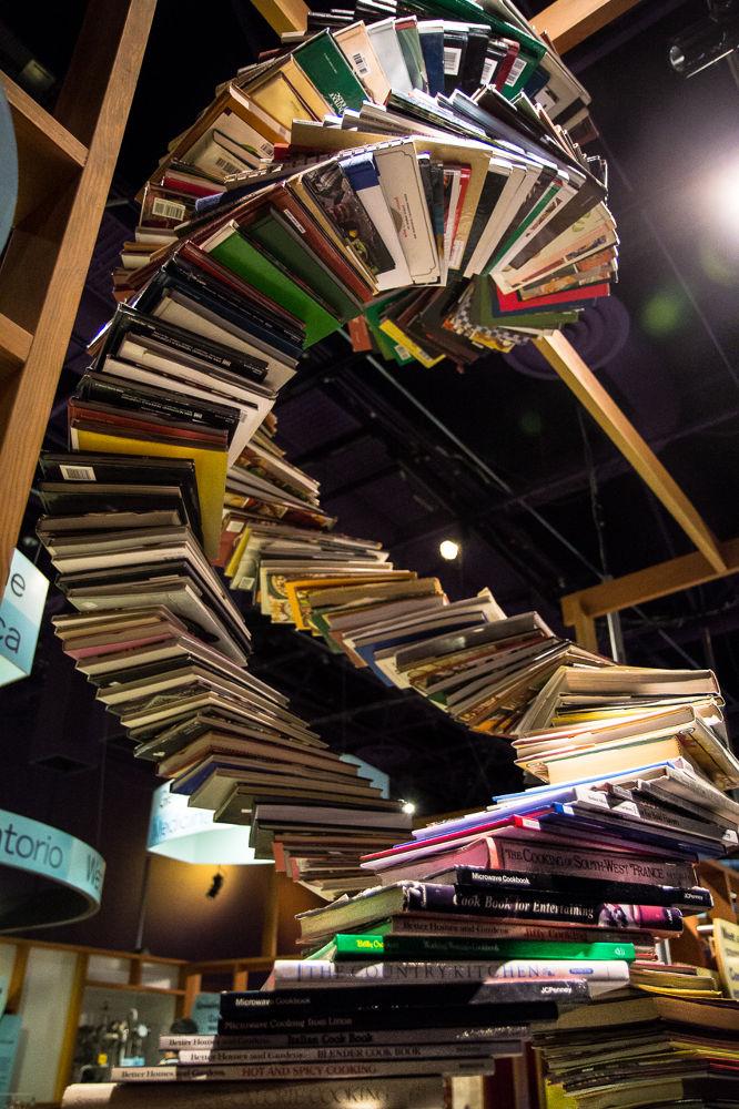 Photo in Random #books #biology #helix #science #dna #san jose #tech museum #cookbooks #museum #stack #art