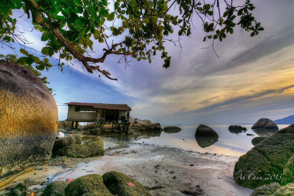 Photo in HDRI #hdr #sunrise #sunset #dusk #dawn #tree #beach #hut