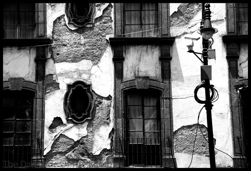 Photo in Black and White #black and white #façade #pared #wall #contrast #mexico #window #noir blanc #blanco y negro #urban #urbain #urbano