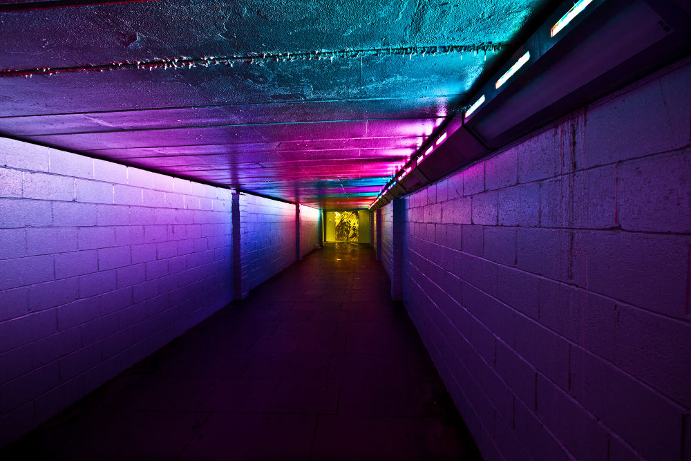 Photo in Urban #pink #blue #light #night #purple #atmosphere #waterloo #tunnel #lux #imax #hand held #unedited