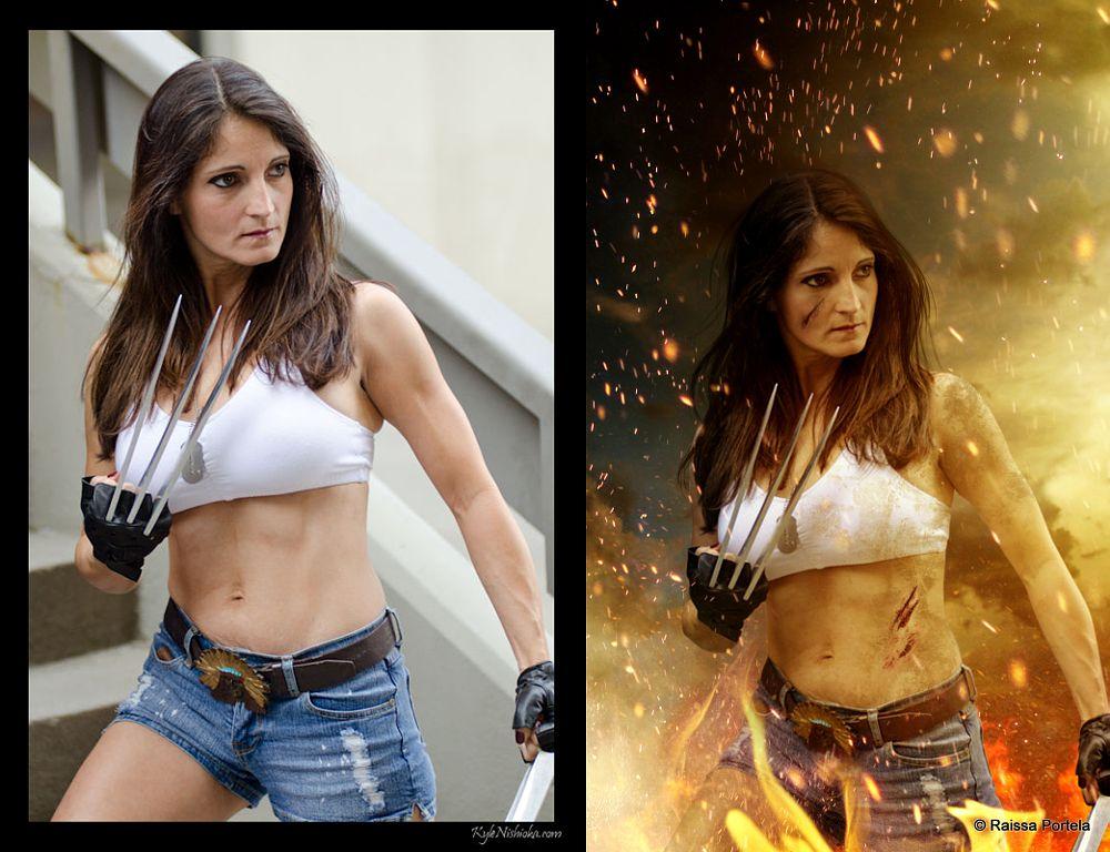 Photo in Fine Art #before and after wolverine #x-men #heroine #woman #sci-fi #fantasy #fine art #dc comics #photomanipulation #brazil #action #by raíssa portela