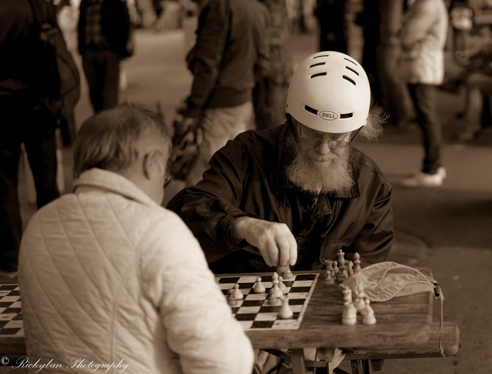 Photo in Black and White #chess #street #playing #stockholm #sweden