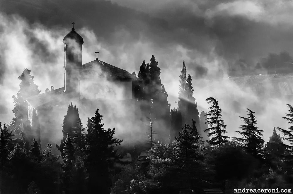 Photo in Black and White #monticino #brisighella #colli #ravenna #chiesa #nebbia #fog #andreaceroni #romagna