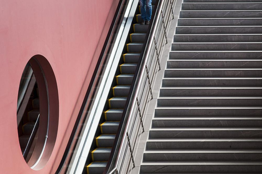 Photo in Random #streetcontest #staircase #stairs #purple #yellow #jeans #legs #window