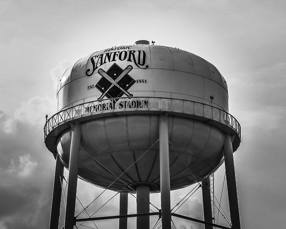 Photo in Landscape #watertower #sanford #historic #baseball #landscape #landmark #tower #clouds #sky