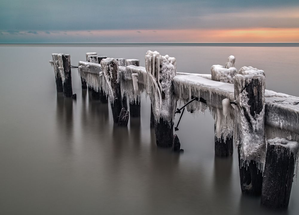 Photo in Nature #grimsby #ontario #canada #pier #ca #lake #water #ice #icy #cold #winter #frozen #sunrise #dark #long #exposure #outdoor #waterfront #sea