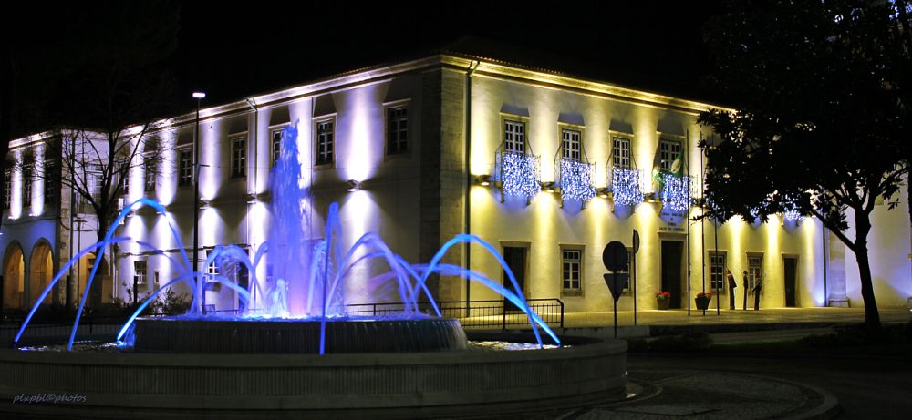 Photo in Travel #town hall #fountain #light #portugal #pombal