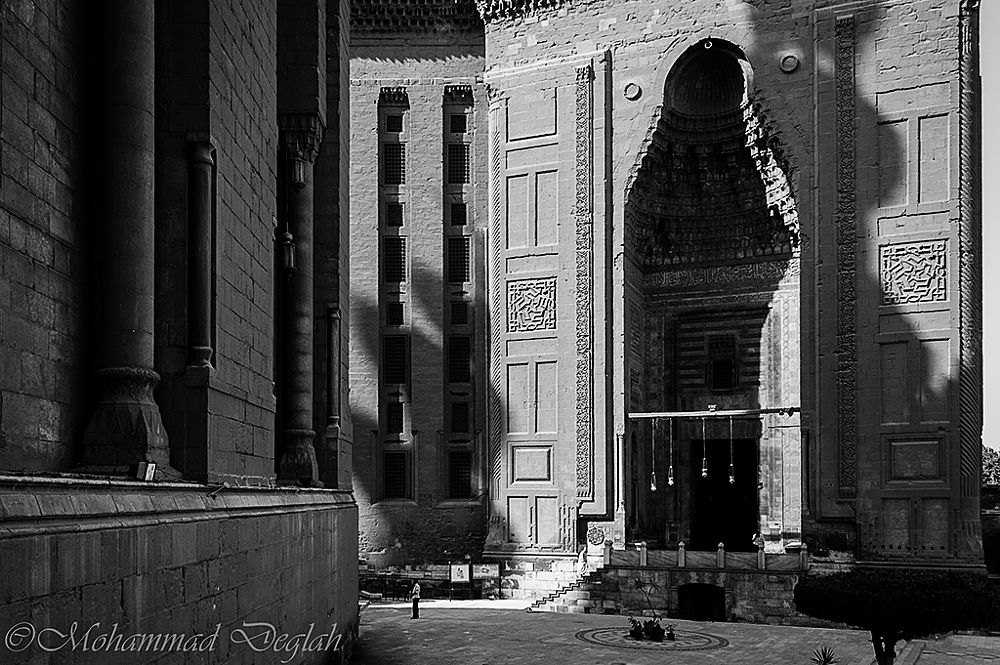 Photo in Architecture #sultan hassan #mosque #b&w #cairo #history #old #black and white #black&white #shadow #monochrome #masjed #street