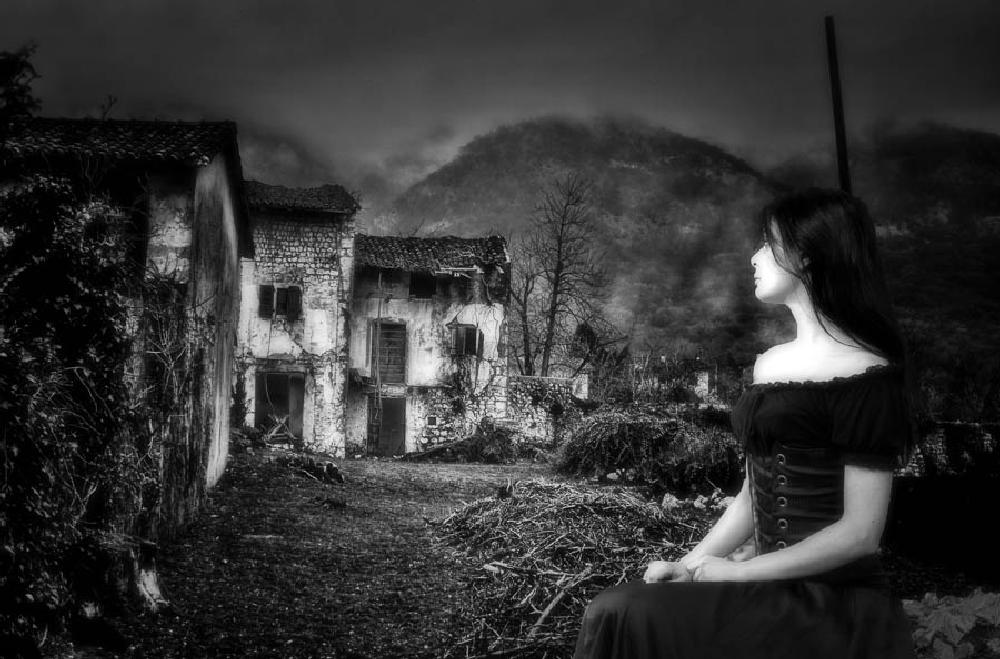Photo in Black and White #village #architecture #countryside #rural #people #girl #concept