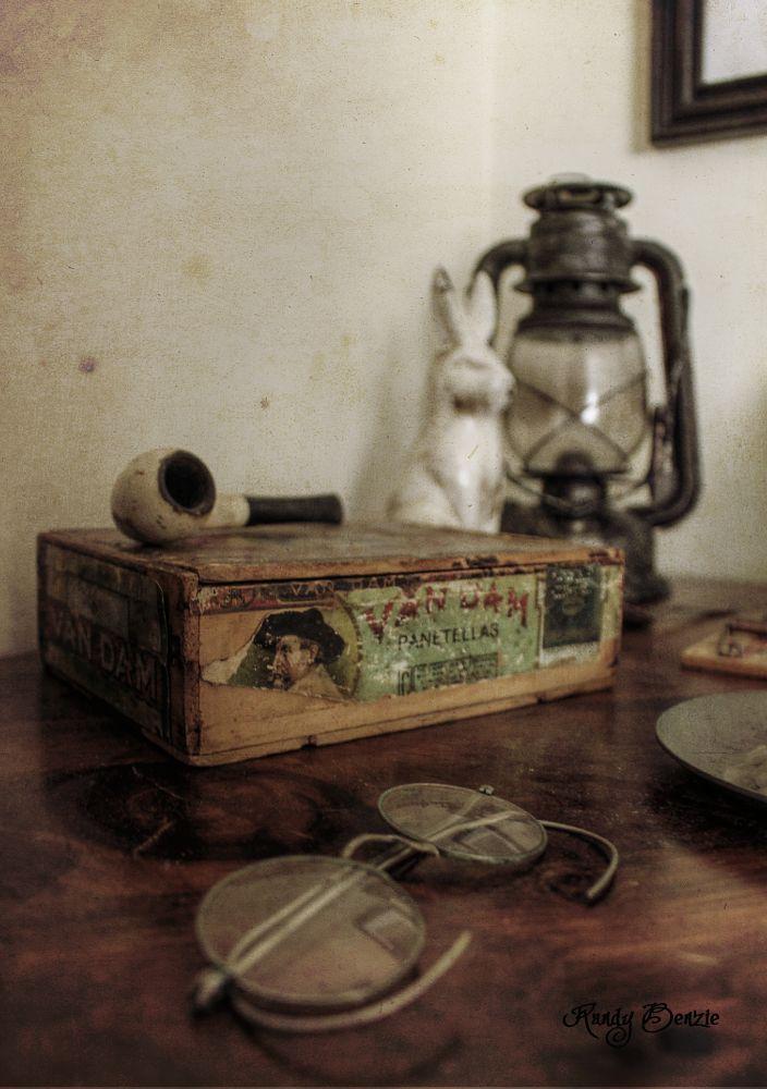 Photo in Still Life #glasses #cigar #box #pipe #tobacco #rabbit #statue #lantern #kerosene #old #vintage #antique