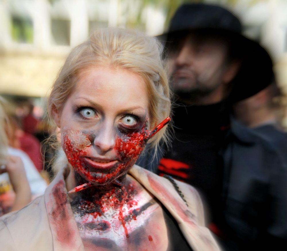 Photo in Random #zombie walk #college green #street photography #street people #woman #hallloween #bristol