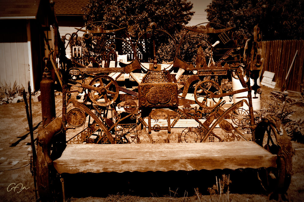 Photo in Abstract #mendocino #folkart #bench #sepia #photography #along the trail