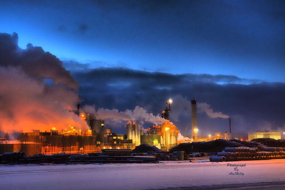 Photo in Random #factory #winter #night #light #lights #snow