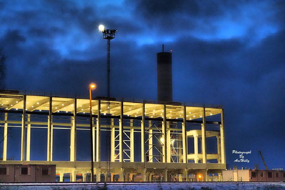 Photo in Random #factory #night #light #lights #sky #cloud #clouds #building #site