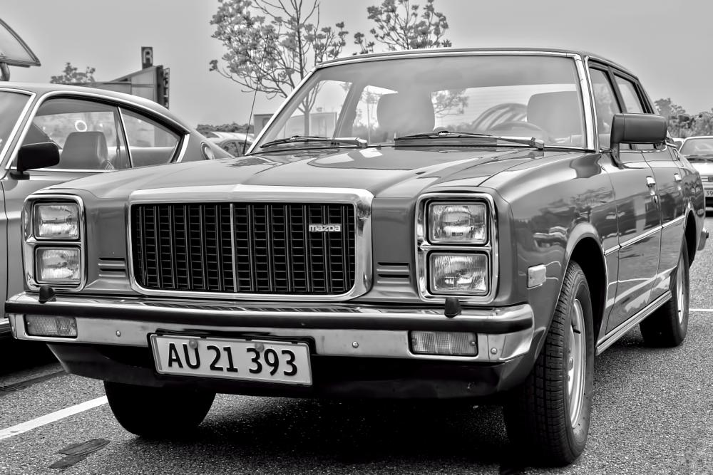 Photo in Vehicle #car #vintage #old #black and white #mazda