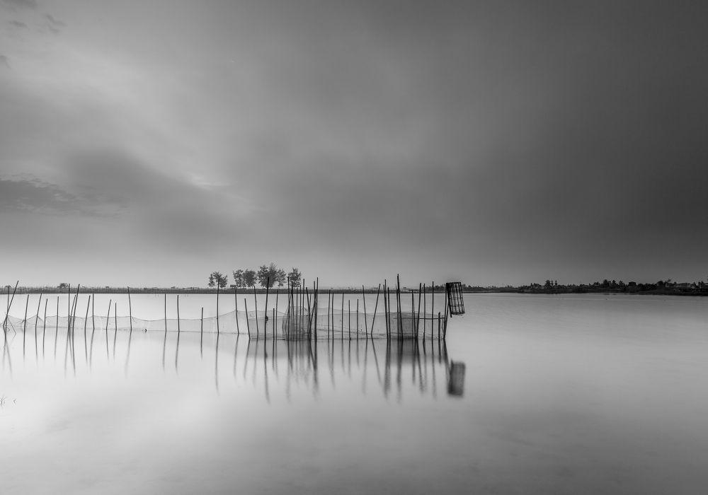 Photo in Black and White #cloudy #sunrise #hue #vietnam #dam chuon #long exposure