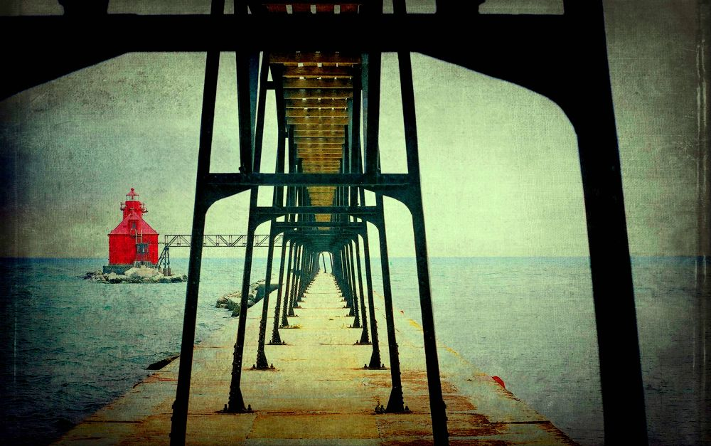 Photo in Sea and Sand #pier #red #lighthouse #water #lake_michigan #cement #metal #bars #light #wisconsin #frelanzfotoz