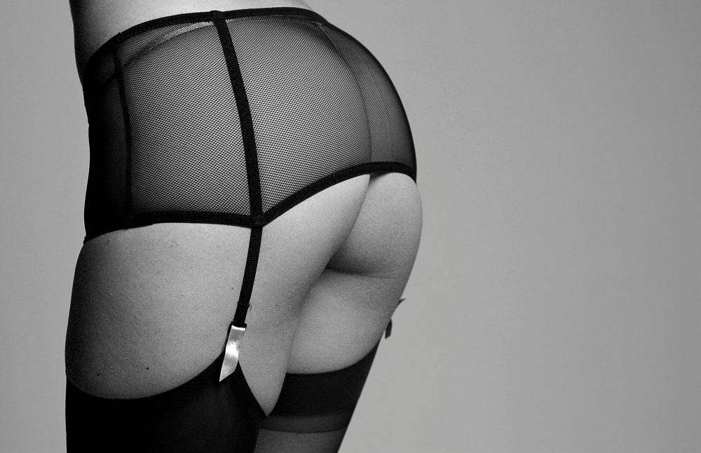 Photo in Nude #cassie #b&w #suspenders #nude #bottom