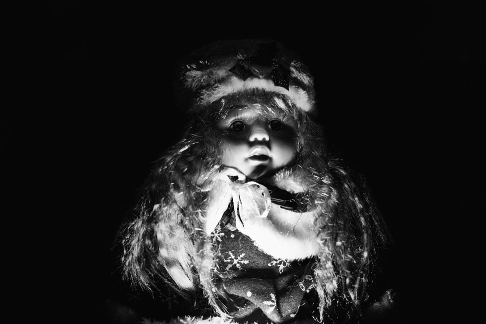 Photo in Black and White #doll #toy #shadows #low key #dark #side #black #black and white #light #scary #spooky #creepy #fear #child #baby #kid #children #infant