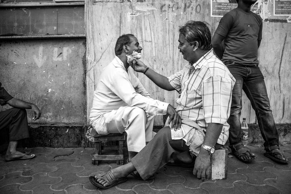 Photo in Street Photography #street #india #black and white #men #barber