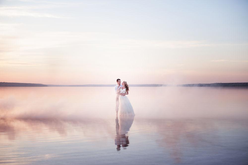 Photo in Wedding #love #wedding #bride #water #fog #people #beauty