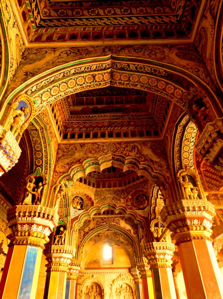 Photo in Architecture #indian #india #ceiling #details #detail #yellow #colors #colours #pillars