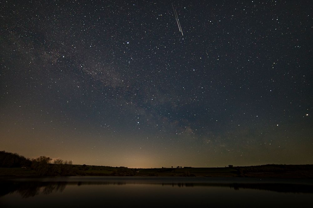 Photo in Astrophotography #stars #night #milky way #lake #water