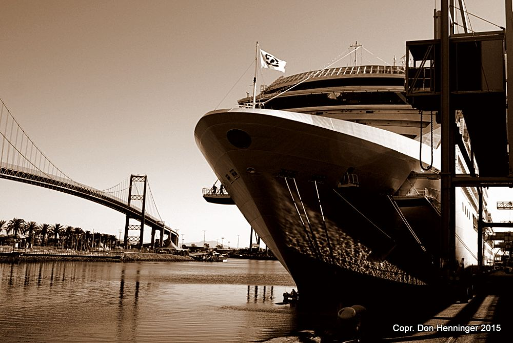 Photo in Travel #cruise #princess #coral #los angeles #dock #dockside #sony #alpha #monochrome #sepia #prow #forward