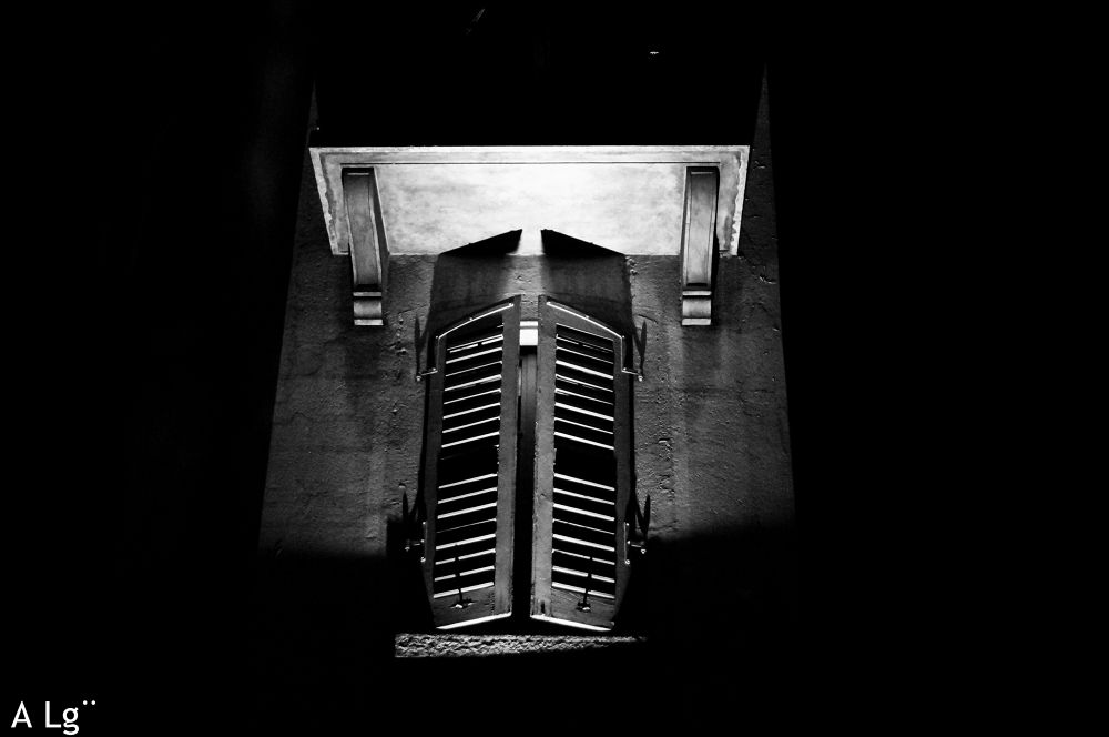 Photo in Black and White #ypa2013 #black and white #night #window #shutter