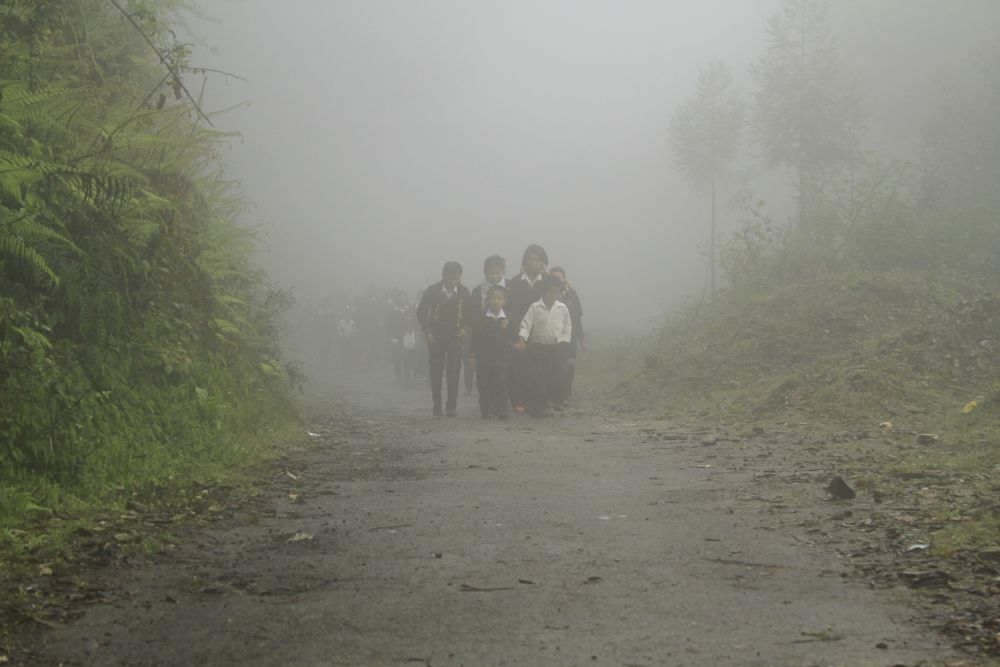 Photo in Nature #mist #morning #school #children #pelling #sikkim