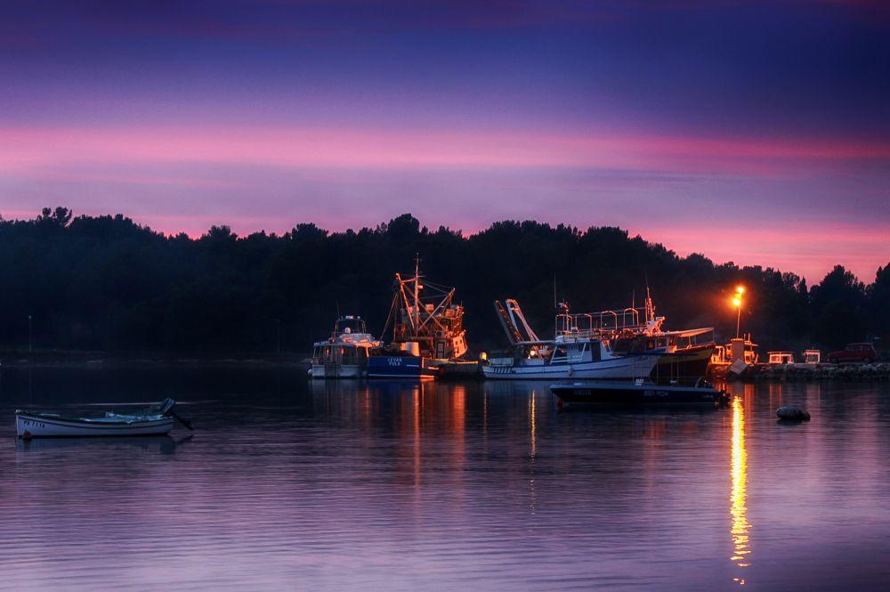 Photo in Landscape #purple #sky #weather #boats #sunset #sunsets
