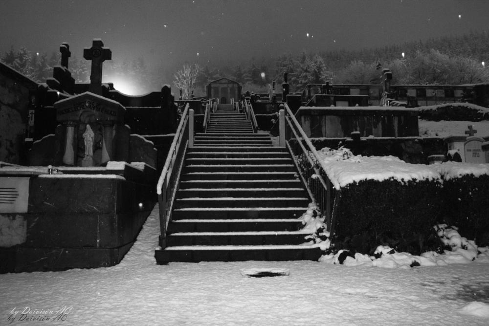 Photo in Black and White #b/w #night #lights #snow #cemetery #stairs #quiet