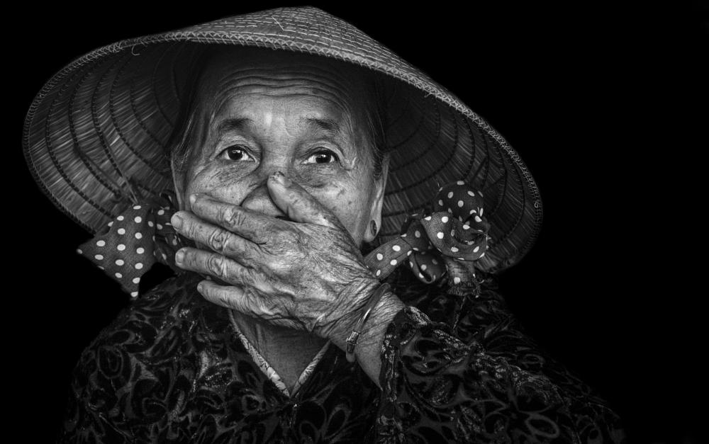 Photo in Black and White #old woman #elderly #people #portrait #black and white #vietnam #vietnamese #asia #asian