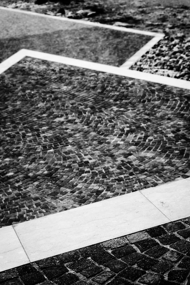 Photo in Abstract #abstract #malta #bugibba #lines #curves #rectangles #angles #black and white #monochrome #paving